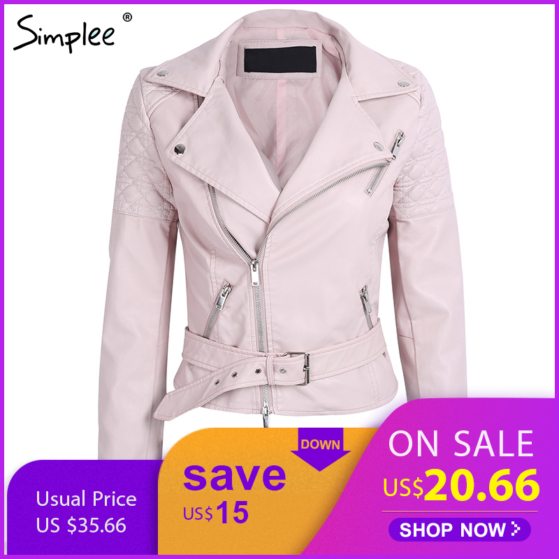 Simplee Casual belt faux leather   jacket   Women cool zipper winter   basic     jackets   2017 Female autumn elegant motorcycle   jacket   coat
