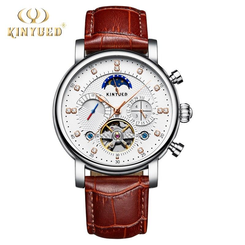 KINYUED Classic Tourbillon Mechanical Watch Men Leather Automatic Skeleton Wrist Watches Moon Phase Calendar Reloj Hombre 2018 цена и фото