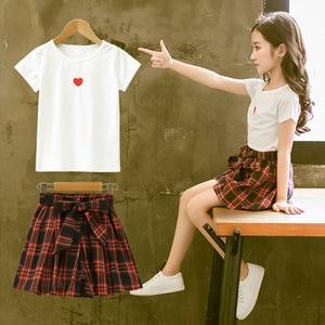 Image 2 - ファッション十代の服の服2019夏ソフト綿tシャツ格子縞のスカートショーツ子供服スーツ2個子供セット