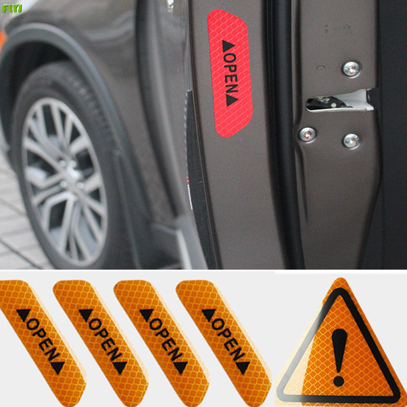 FLYJ reflective car sticker warning sticker Car door Car wheel post Automobile Traffic Warning stop sign car styling Parking