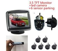 Car Video 6 8 SensorParking Reverse Radar System Led Night Vision Rear View Camera 3 5