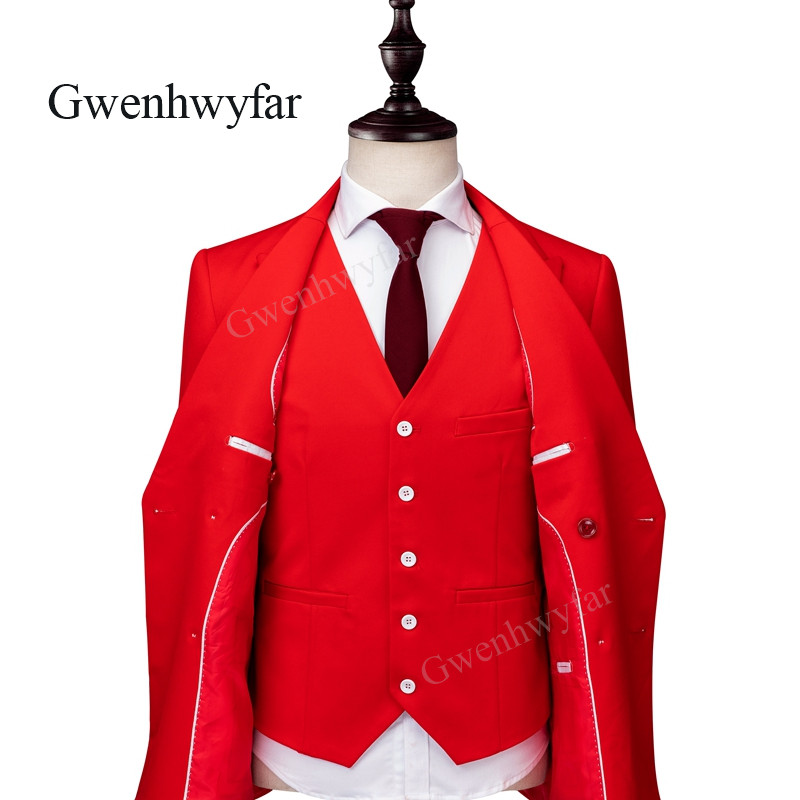 Gwenhwyfar 2018 Autumn New 6 Buttons Groom Bridegroom Wedding Party Tuxedos Bright Red Fashion Men Suits Blazer Pants waistcoat-in Suits from Men's Clothing    3