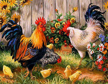 Diy Diamond Painting Decorative Painting Chickens In The Garden Mosaic Diamond Embroidery Full Round Drill Rooster Hen