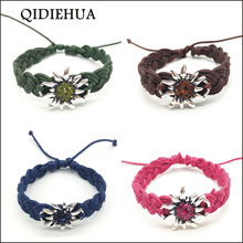 QIDIEHUA Silver Color Handmade Edelweiss Bracelets & Bangles Adjustable Lucky Multicolor Friendship For Women