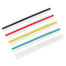 10 Pcs 40Pin 1X40 P MALE Pecah PIN HEADER Strip 2.54 Mm Biru Merah Putih Kuning Hitam konektor 5 Warna UNTUK ARDUINO(China)