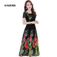 2019 New Plus Size 4XL Summer Women Short Sleeved Chiffon Print Dress Female Bohemia Floral Long Dress Beach Dress Vestidos A148