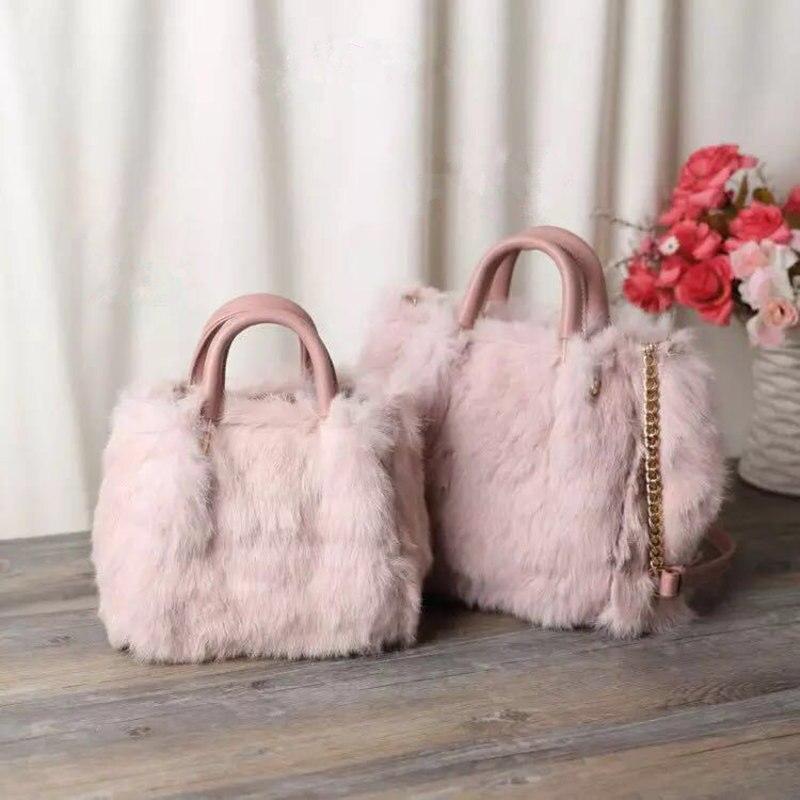 Fashion New Design Leather Fur Soft Real Leather Women Handbag Female Shoulder Bag Girls Messenger Bag