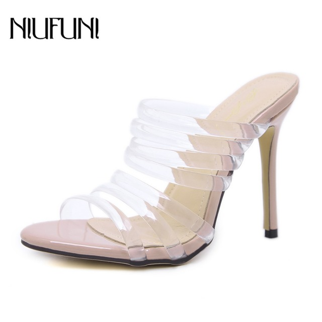 9bf87196662 Summer Fashion Sandals Jelly Shoes Sexy Women Sandals Slippers Style High  Heels Narrow Band Casual Transparent Shoe Black Beige