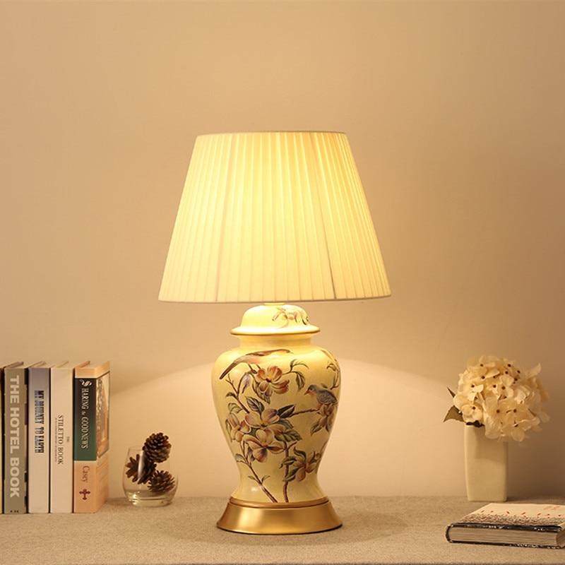 Lighting Gift White Ceramic Table Lamp Linen Shade Images Lamps For ...