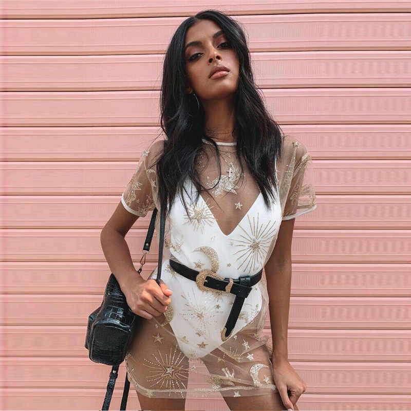 2019 Для женщин Модные ажурные Cover Up дамские туфли-лодочки в стиле само платье женский короткий рукав прозрачная Мини-платья Размеры: S-XL