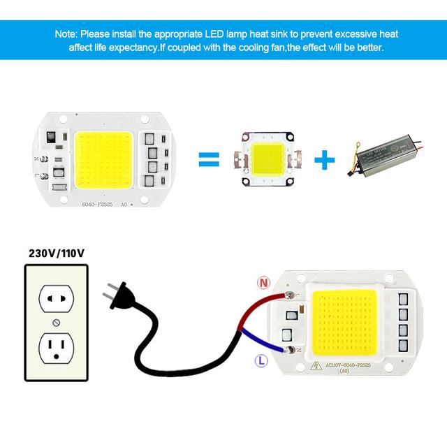 LED COB Chip 220V 240V 3W 12W 20W 30W 50W cold white warm white LED Bulb Lamp Input Smart IC Flood Light Spotlight