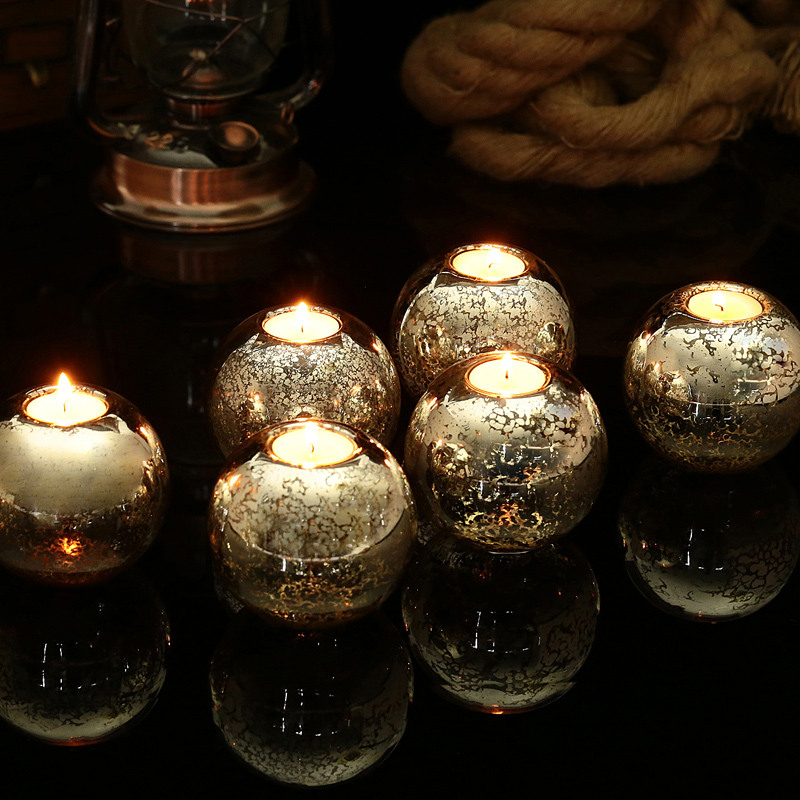 Event Party Wedding Candle Holdes Mercuy Round Ball Tealight Holders Festival Valentine Dinner Candlestick Home Decor