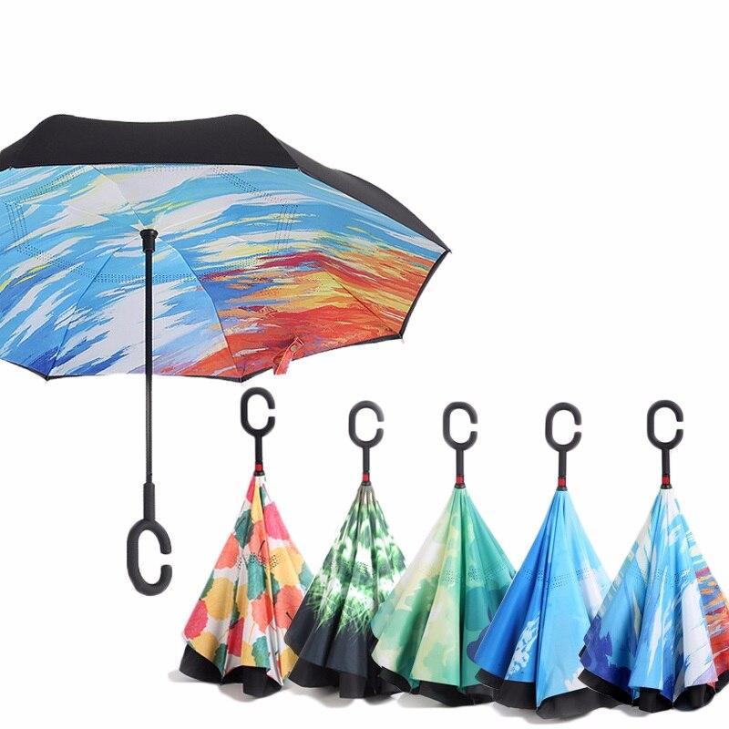 Céu estrelado anti uv invertido guarda-chuva reverso dobrável dupla camada guarda chuva auto ficar dentro para fora chuva ensolarada