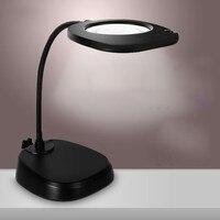 220 В 5X большая лупа лампа Настольная Подставка Увеличительное стекло со светодио дный ными ламдля чтения