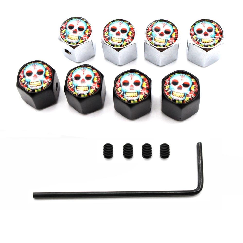 5 Pcs/Set Zinc Alloy Anti-theft Skull With Flowers Style Tire Valve Stem Cap Tire Wheel Stem Air Valve Caps For Auto Cars