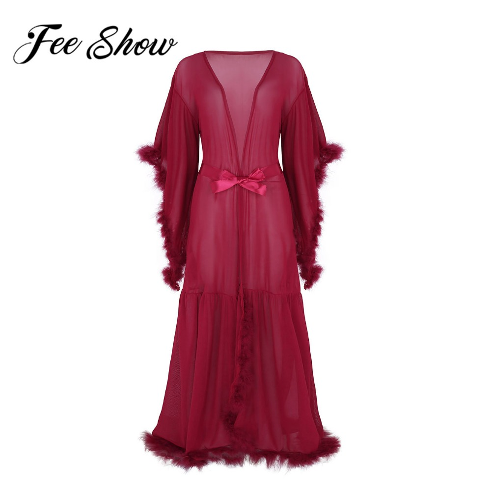 Sexy Adult Women Mesh See-Through Prom Clothes Sheer Flare Sleeves Feather Long Lingerie Bathrobe Sleepwear Nightgown Spas Dress