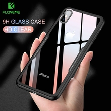 Floveme Tempered Glass Phone Case For iPhone 11 2019 XR 6 6S 7 8 Plus Luxury Ultra Thin Cases X XS Max Covers