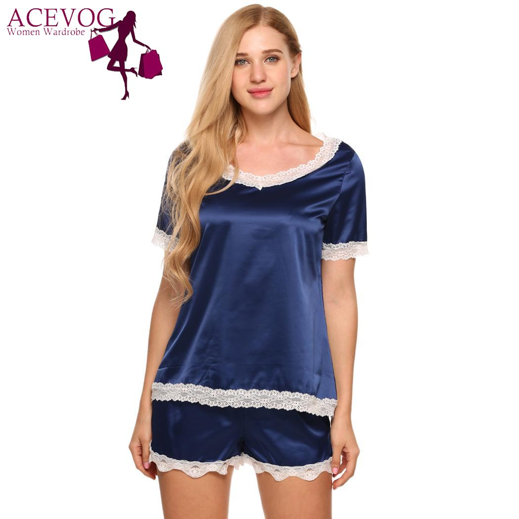 ACEVOG Set Top V Neck and Short Lace Trim Pajamas Women Sleeve Sleepwear  Satin Shorts Sleepwear Fashion Nightwear For Women-in Pajama Sets from  Underwear ... 557e744d1