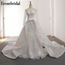2019 Mermaid Wedding Dress Long Sleeve Bridal Gown Elegant Lace Dresses Up Back White Ivory Champagne Color GR-3603