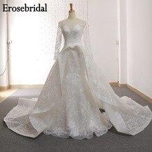 2019 meerjungfrau Hochzeit Kleid Langarm Brautkleid Elegante Spitze Brautkleider Lace Up Zurück Weiß Elfenbein Champagner Farbe GR 3603