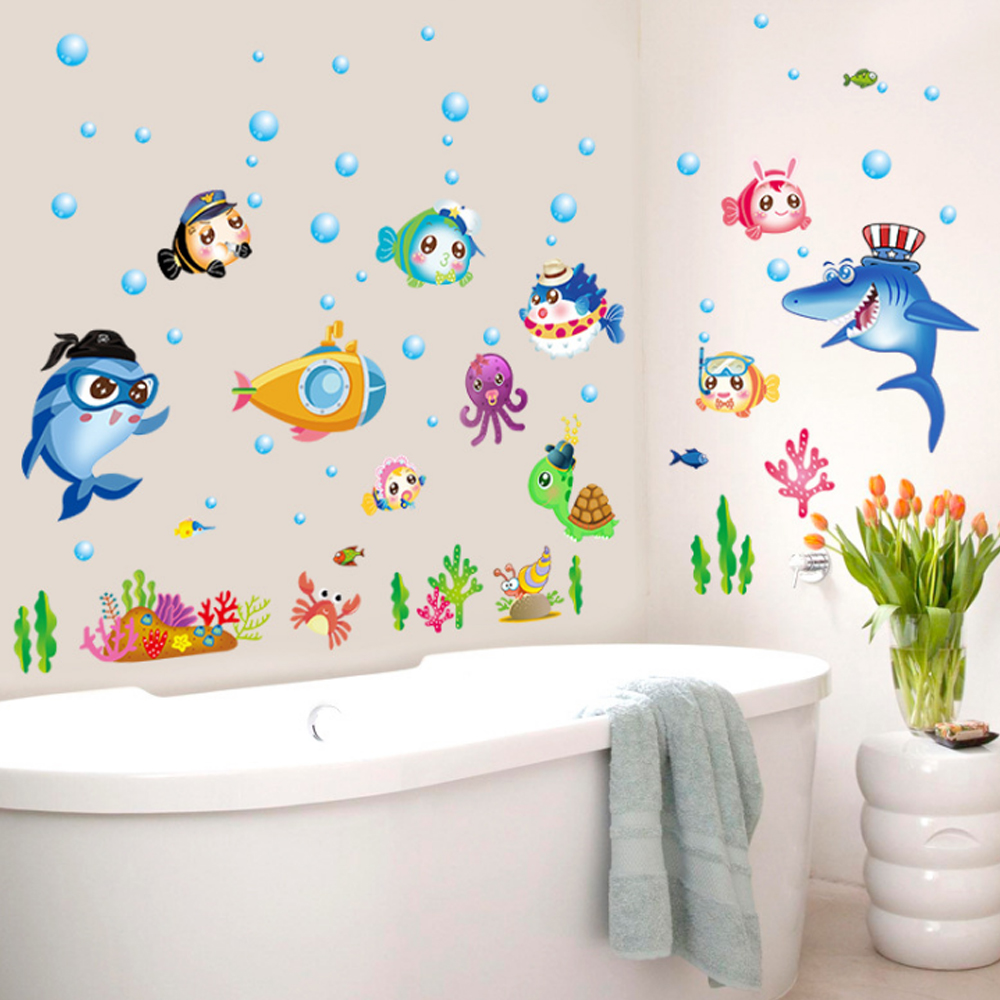 Cartoon fish underwater world wall decal home sticker for Diy mural painting