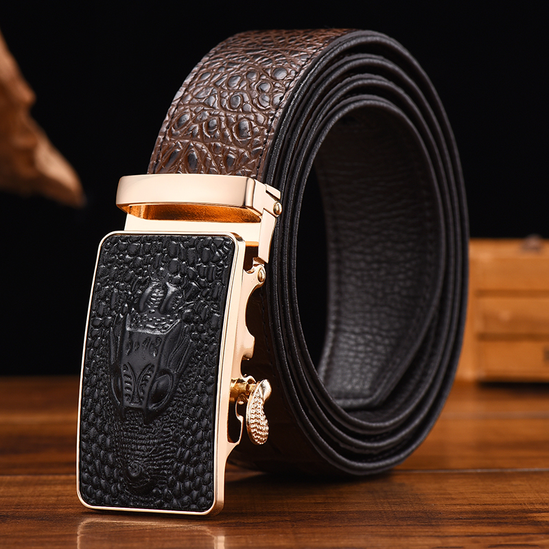 [JSJ]Designer Belts Men High Quality Male Genuine Leather Strap Luxury Famous Brand Logo Crocodile Silver Gold Ceinture Homme