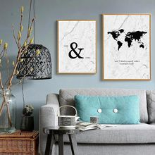 Nordic Marble Painting Minimalist Wall Art Black and White World Map Poster Modern Canvas for Living Room Unframed