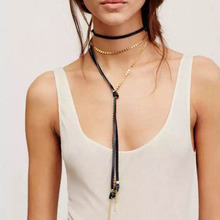 Ladyfirst Fashion Jewelry Layer Collar Choker Necklace Metal Pendant Leather Cheap Chokers Long Tassel Statement Collier 3895