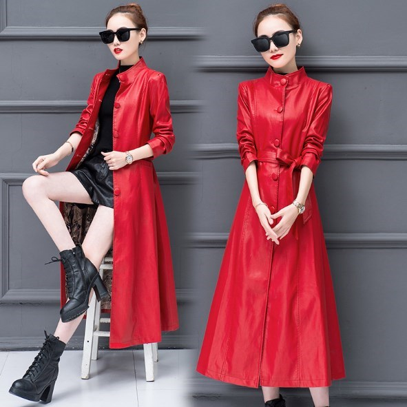 Womens Calf-length Faux   Leather   Long Trench Coat for Women Stand Collar Pu   Leather   Slim Trench Black Red Gray Jacket Sashes
