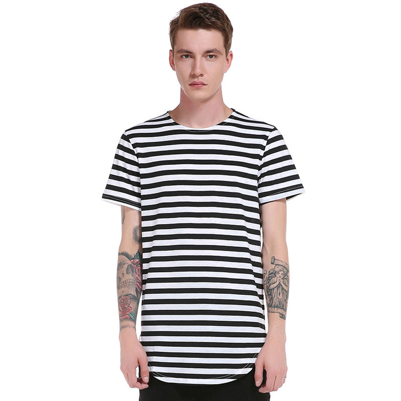 2017 new fashion striped men t shirt basic t shirt long. Black Bedroom Furniture Sets. Home Design Ideas