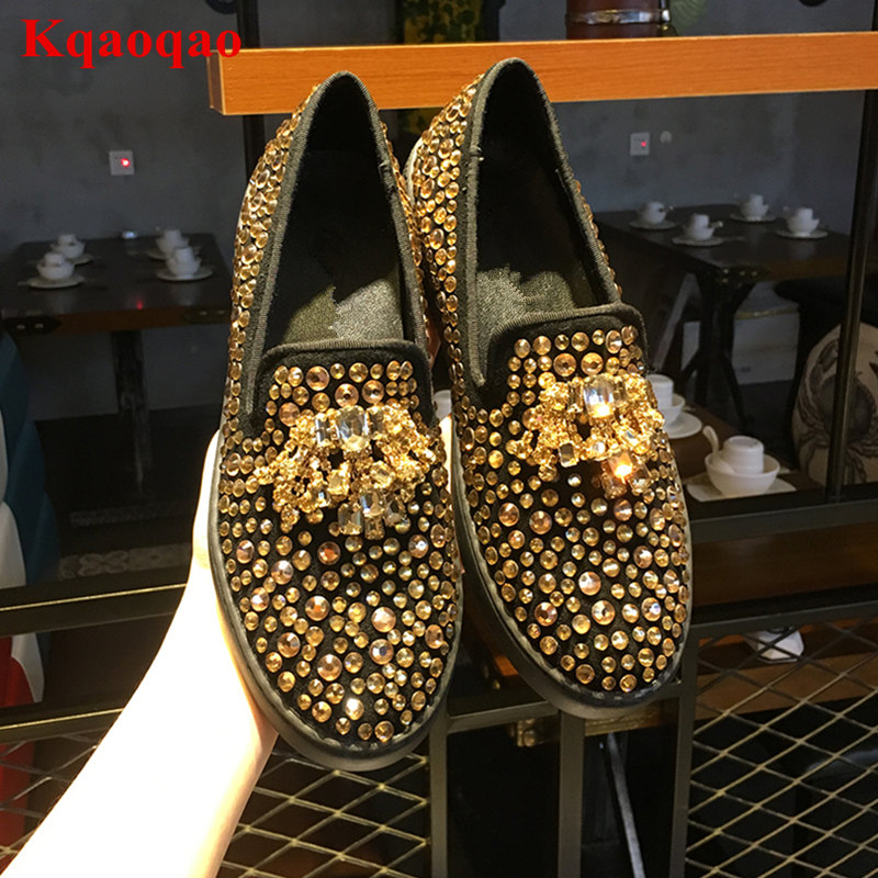 Gold Crystal Embellished Bling Round Toe Women Flats Low Top Slip On Brand Star Runway Chaussures Femmes Casual Shoes Loafers women round toe flower ladies beautiful flats shoes green fashion rubber sole applique loafers walking slip on embellished 2017