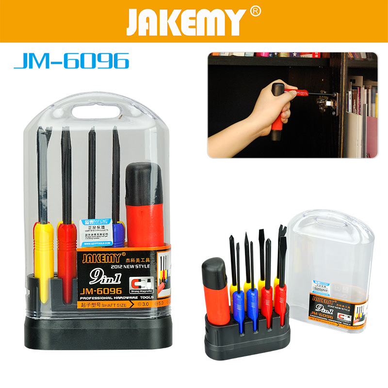 JAKEMY 9 in 1 Precision Screwdriver Kit Chrome Vanadium Steel Slotted Phillips Screw Drivers For Home Appliances Repair Tools