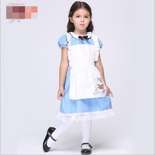 a5b03f7b7 free pp Halloween Kids Girls Deluxe Alice In Wonderland Blue Party Dress  Alice Dream Kids Lolita Cosplay Costume