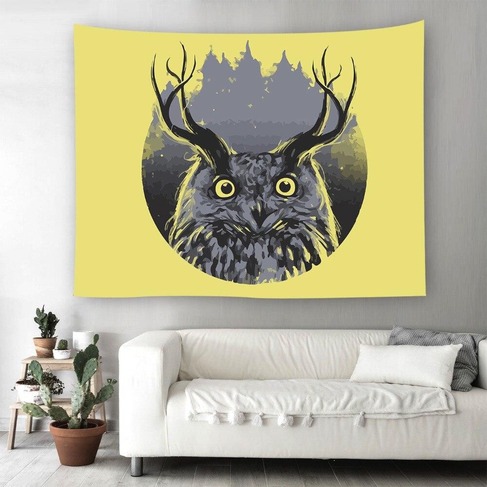 Owl Wall Art Hanging Living Room Decor Beach Blanket Yoga Bedspread ...