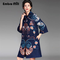 Womens Runway Fashion 2016 Winter Embroidery Trech Coat Vintage Royal Plus Size O Neck 3 4