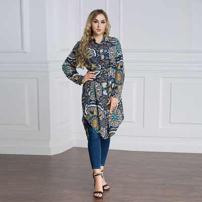 플러스 아랍 에미리트 이슬람 아랍어 긴 블라우스 탑 여성 6xl 7xl 2019 말레이 abaya 이슬람 터키 여성 wearloose 셔츠 대형