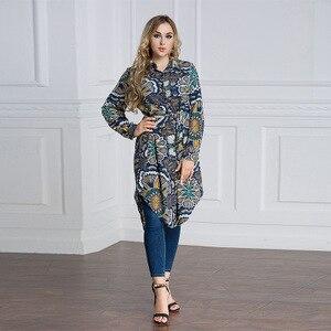 Image 3 - Plus VAE Islam Arabisch Lange Blouse Tops Vrouwen 6XL 7XL 2019 Maleis abaya Moslim Turkse vrouwen WearLoose Shirt Grote size