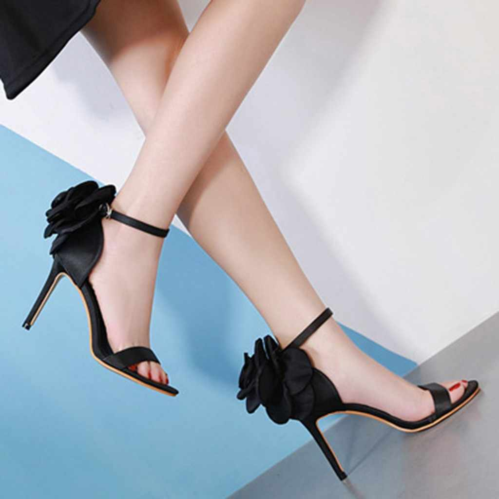 Women Flower Fashion Element Retro Elegant Pointed Toe Super High Thin Heels Sexy Sandals Shoes Cloth Upper Material May 21