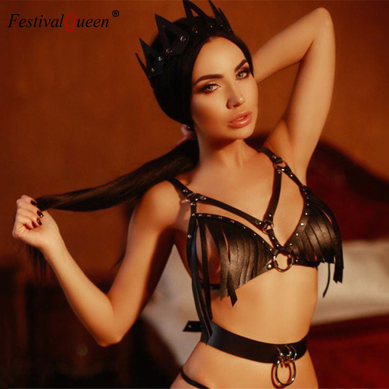 FestivalQueen Black Faux Leather Tassel Fringe Strap Crop   Top   Women Sexy Fetish Dancing Clubwear Backless Clothing   Tank     Top