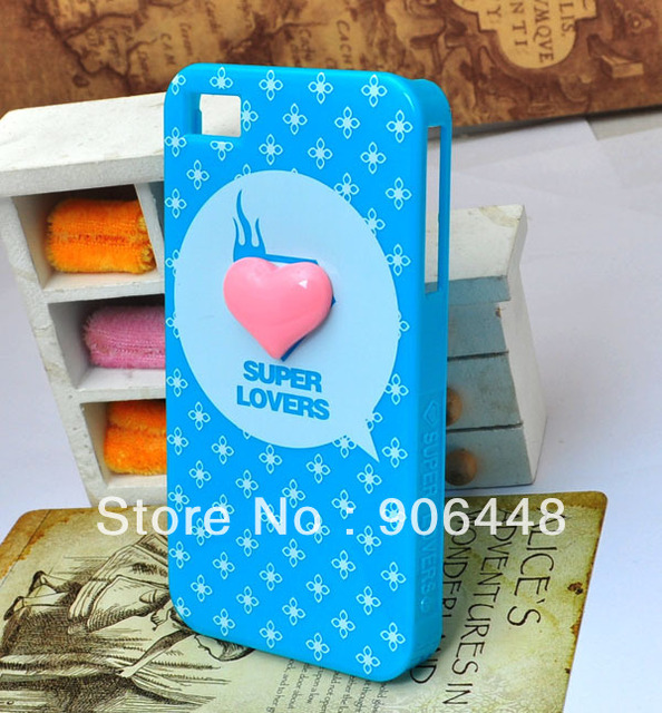 DIY Handmade Cell Phone Case for iphone 4 4s 5  5S Super Lovers Printing Pink Resin Heart 1PCS