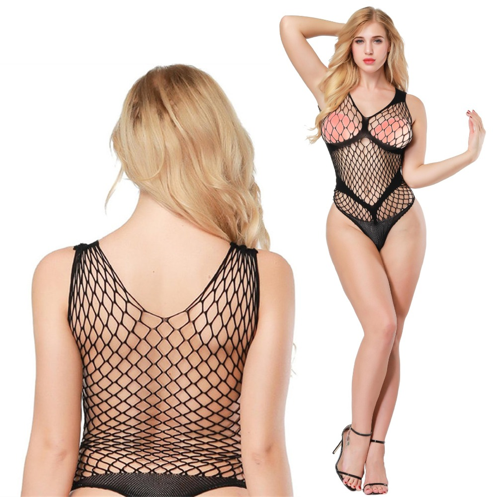 Candiway Sexy Teddy Fishnet Bodysuit Harness Crotchless Hot Perspective Stockings Erotic Lingerie Jumpsuits Costumes Underwear