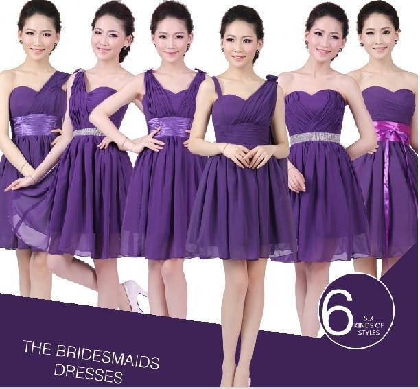 c021ba23ad28 LC248M Royal Purple Bridesmaid Dresses Chiffon Maid Of Honor Dress Eggplant  Cheap Bridesmaid Dresses Two Tone 6 Styles