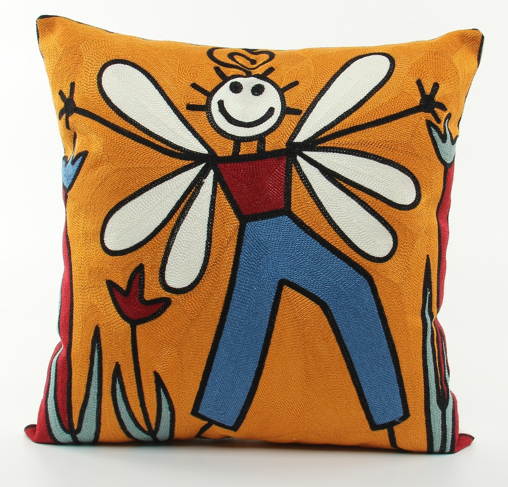 Sofa or Car Seat Cotton Embroidery Decorative Throw Pillow Case Cartoon Girl Cushion Cover Good Gift for Friends 45*45cm ZD87
