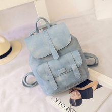 Fashion Solid Backpack Women Casual Vintage School Bags for Girls Female Black/Gray/Blue PU Leather Women BookBag Drop Shipping(China)