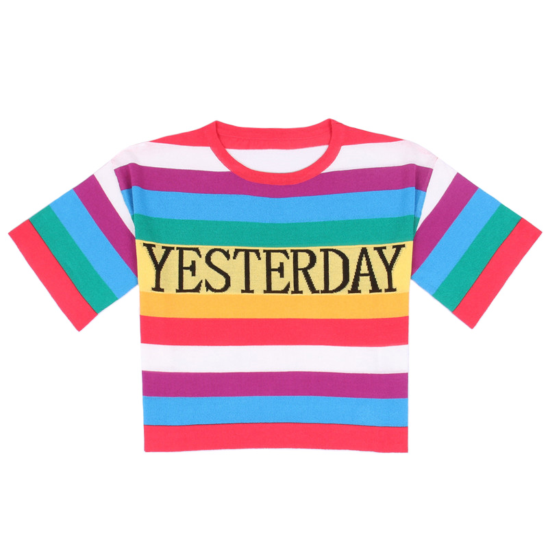 SRUILEE 2018 New Summer Tees Women T-shirt Pullover Knit Top Rainbow Yesterday Today Tomorrow Letters Short Sleeve Jumper Runway