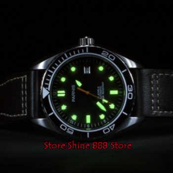 45mm Parnis Waterproof Diver Automatic Watch Mechanical Watches Ceramic Rotatig Bezel 5ATM Sapphire Wrist Watch Men Gift