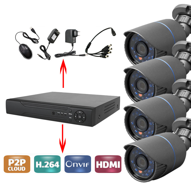 CCTV 4CH AHD DVR Systems with 4pcs 720p AHD 24 LEDS IR Outdoor Bullet Cameras+4pcs 20M/BNC POWER CablesCCTV 4CH AHD DVR Systems with 4pcs 720p AHD 24 LEDS IR Outdoor Bullet Cameras+4pcs 20M/BNC POWER Cables