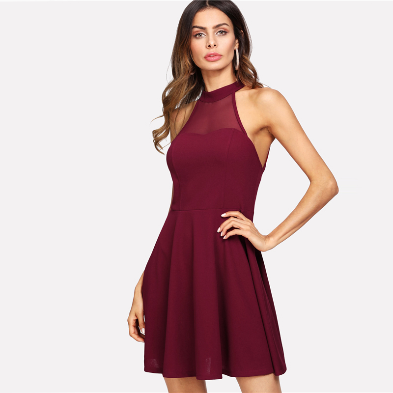 COLROVIE Burgundy Sexy Backless Mesh Sheer Halter Summer Dress 2018 High Waist A Line Women Dresses Fit And Flare Party Dress 5