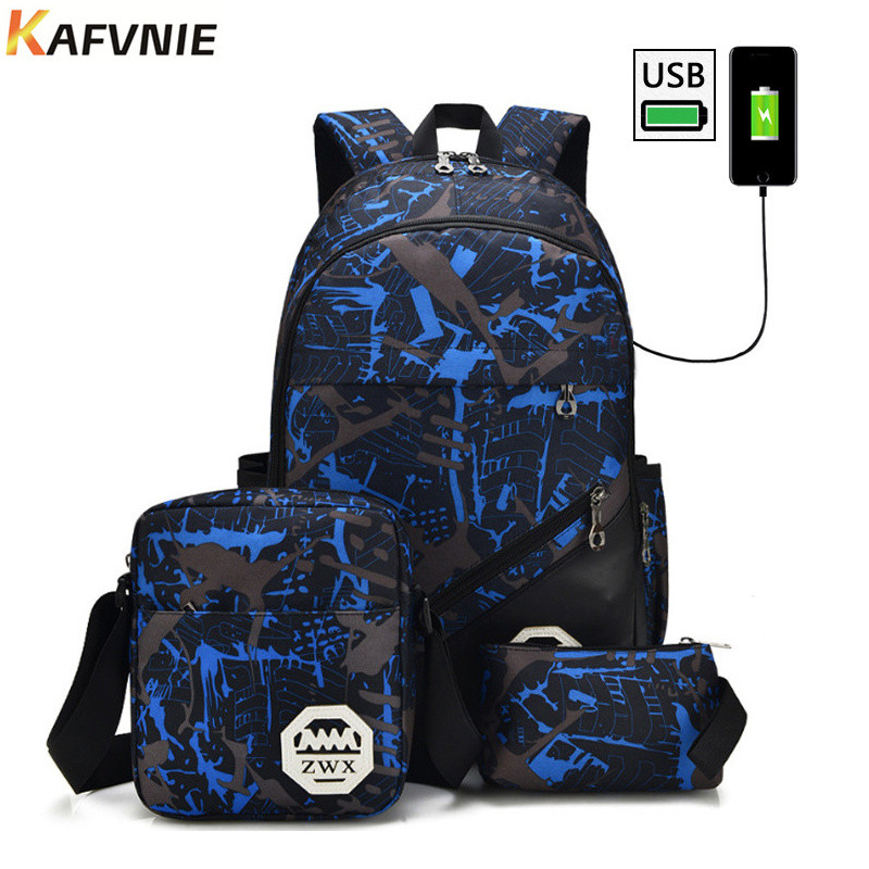 3in1 New Anti-thief USB Charging 15.6inch Laptop Backpack For Women Men Backpack High School Backpack Bag For Camouflage blue