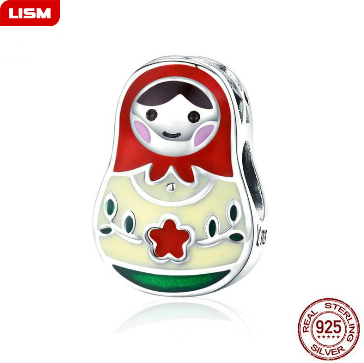 Pretty Russian Doll 100% 925 Sterling Silver Beads fit Charm Bracelet Necklaces Jewelry Accessories Making for Women's Gift